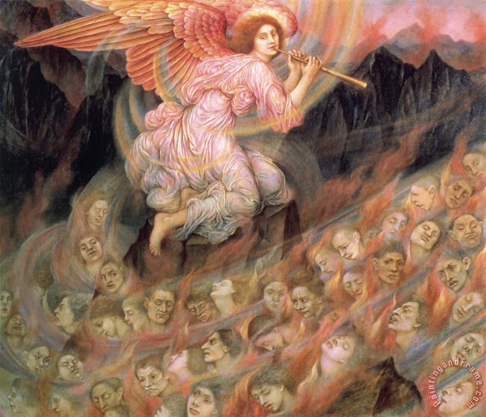 Angel Piping to The Souls in Hell painting - Evelyn De Morgan Angel Piping to The Souls in Hell Art Print