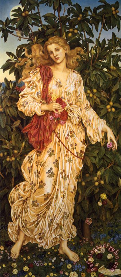 Flora painting - Evelyn De Morgan Flora Art Print