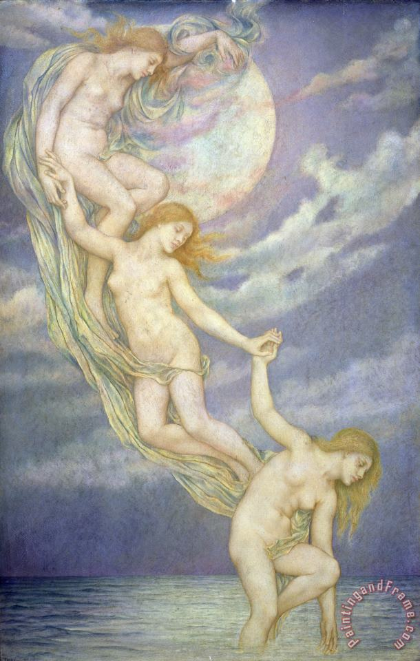 Evelyn De Morgan Moonbeams Dipping into the Sea Art Painting