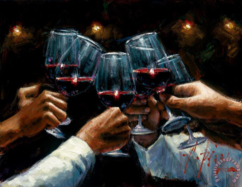 For a Better Life Red Wine with Lights painting - Fabian Perez For a Better Life Red Wine with Lights Art Print