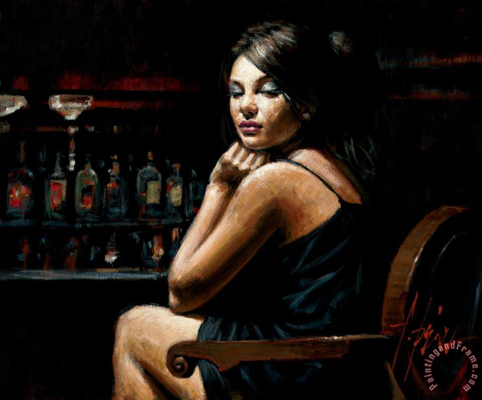 Saba at Las Brujas III with Lights painting - Fabian Perez Saba at Las Brujas III with Lights Art Print