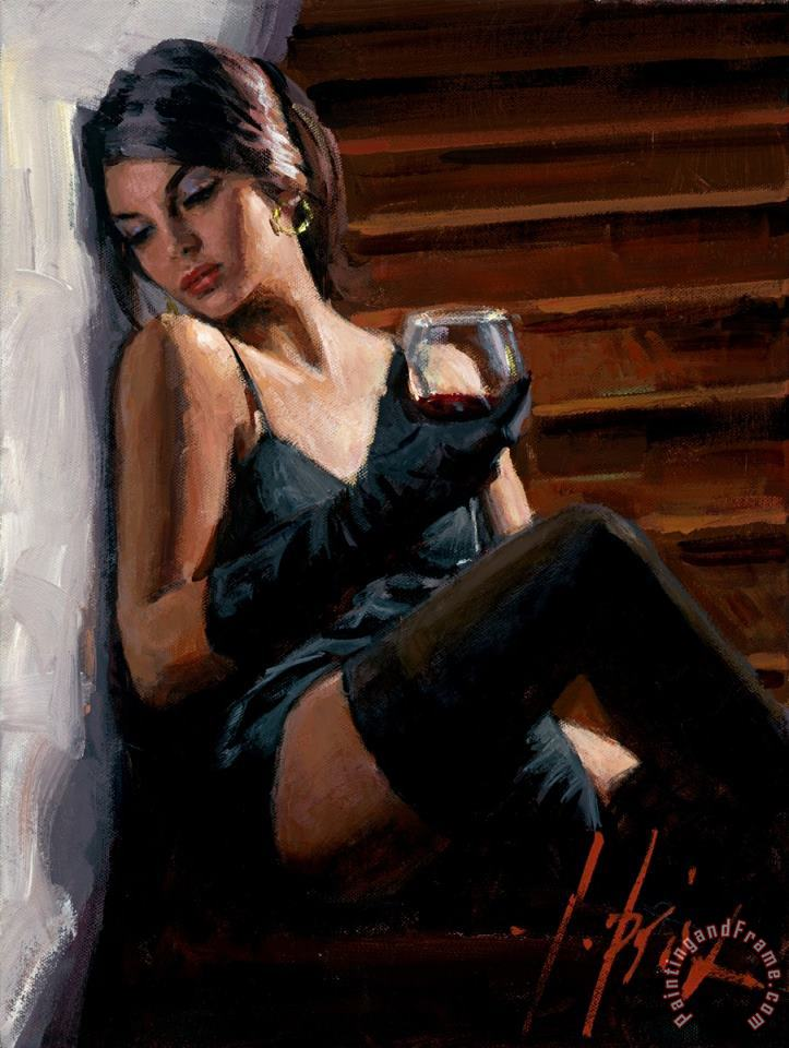 Saba on The Stairs White Wall painting - Fabian Perez Saba on The Stairs White Wall Art Print
