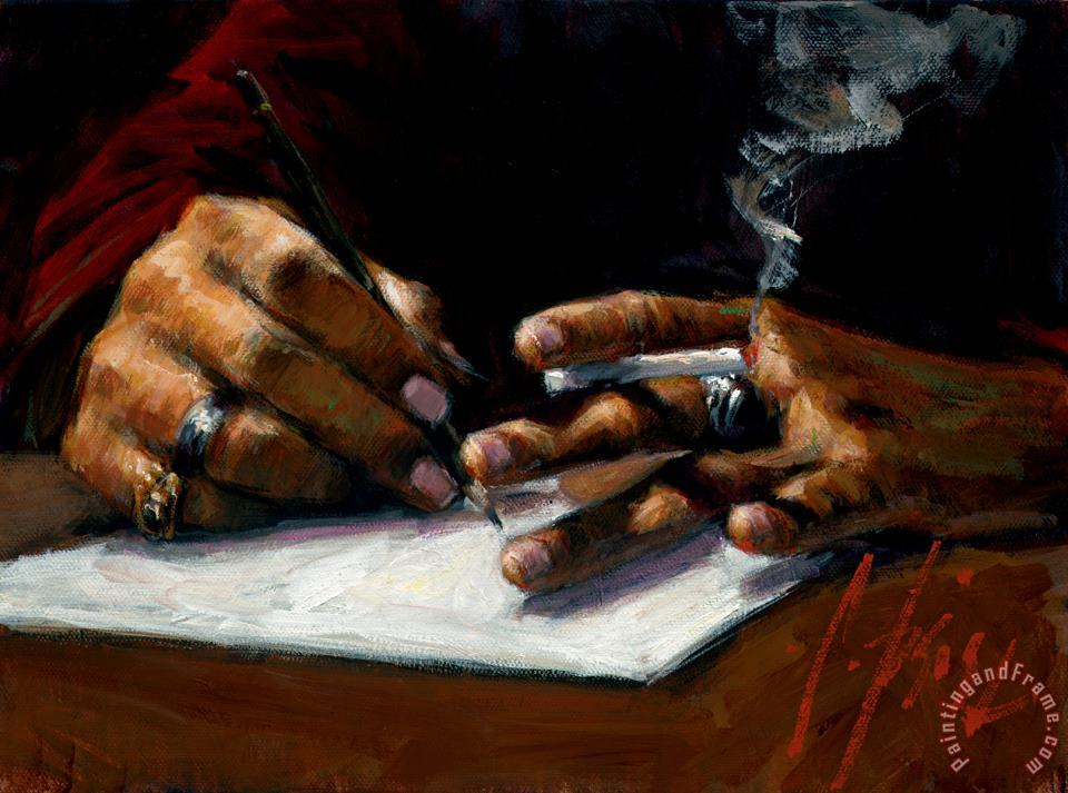 Study of Artist's Hand Sketching painting - Fabian Perez Study of Artist's Hand Sketching Art Print