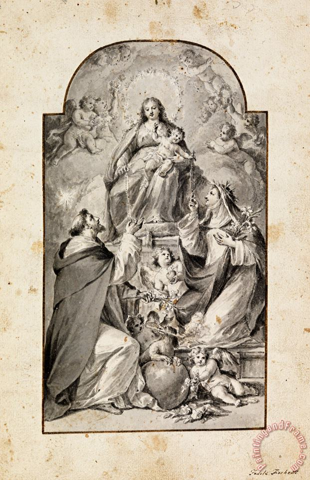 Design for an Altar Painting Saint Dominic And Saint Catherine of Siena Receiving The Rosary From... painting - Fedele Fischetti Design for an Altar Painting Saint Dominic And Saint Catherine of Siena Receiving The Rosary From... Art Print