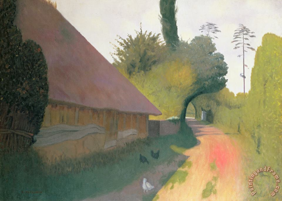 The Barn with the Great Thatched Roof painting - Felix Edouard Vallotton The Barn with the Great Thatched Roof Art Print