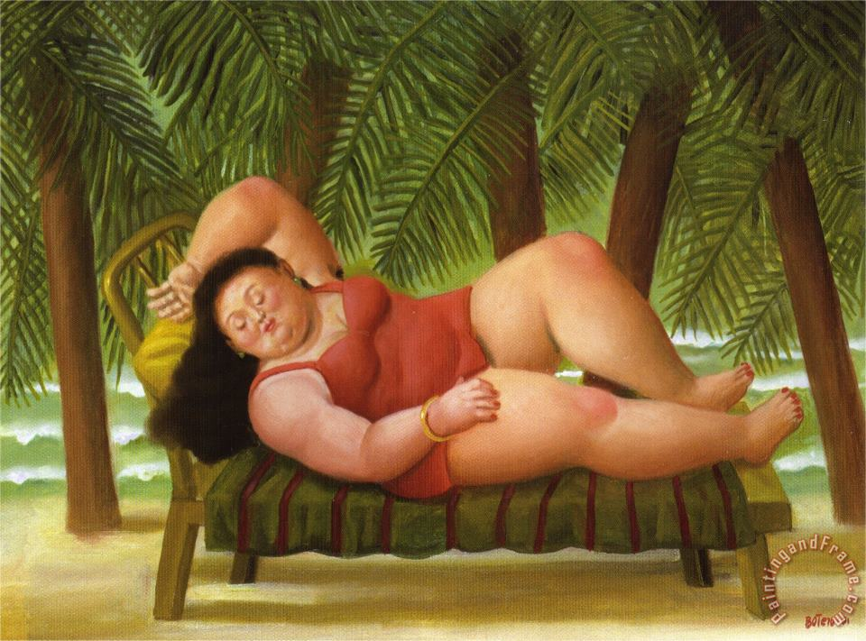 Bather on The Beach painting - fernando botero Bather on The Beach Art Print