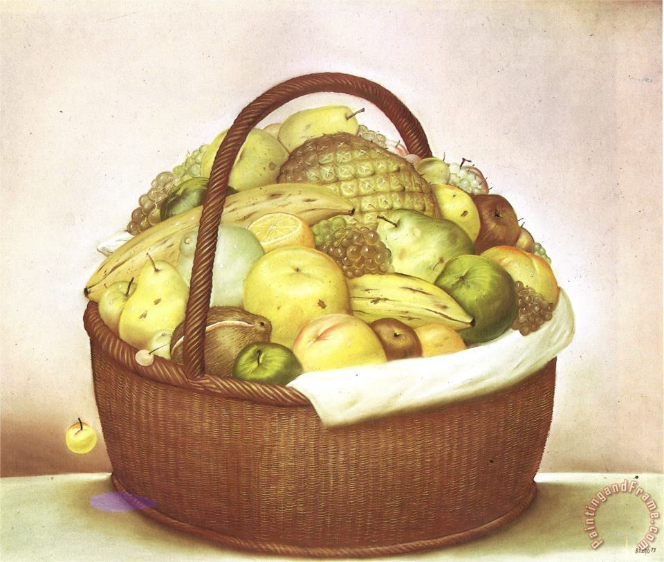 fernando botero Fruit Basket Art Painting