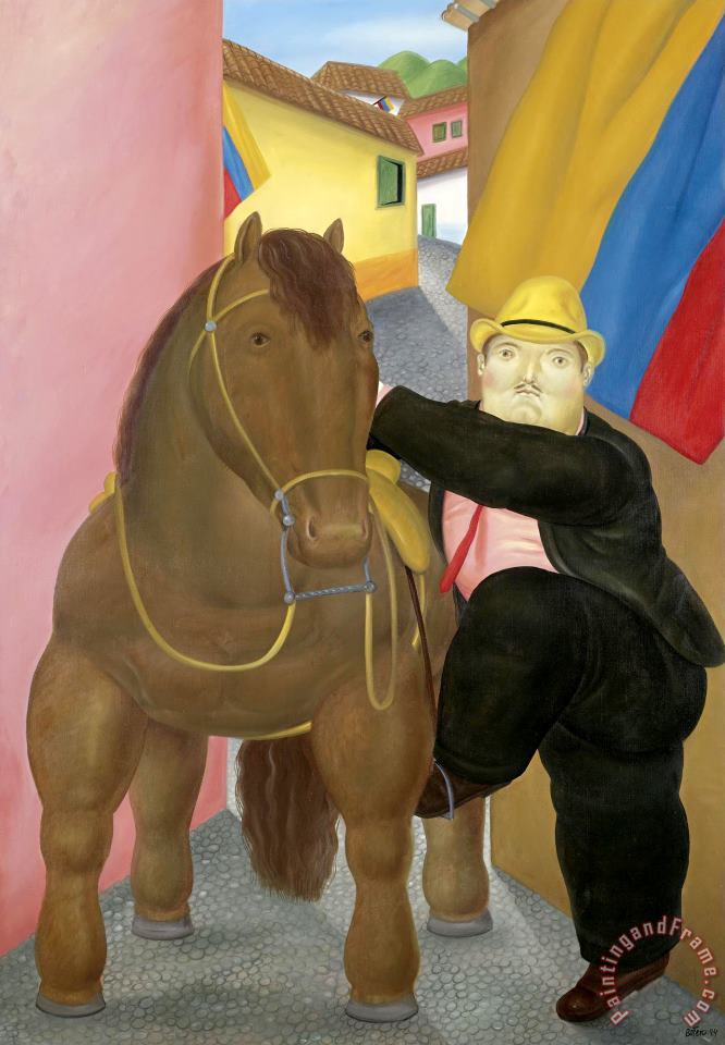 Man And Horse painting - fernando botero Man And Horse Art Print