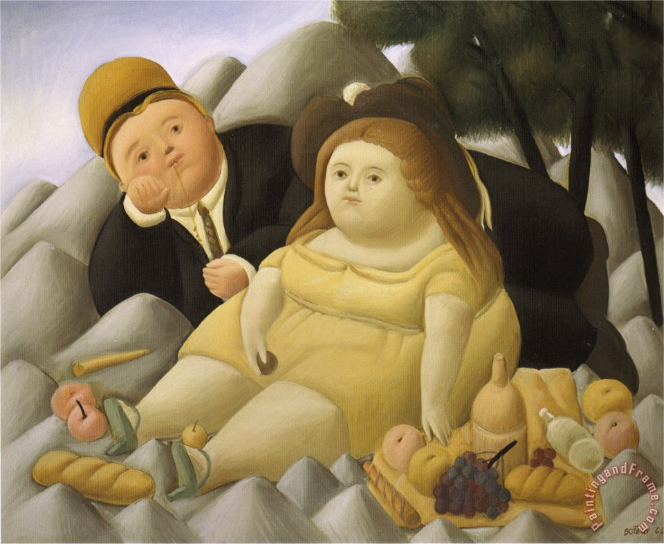 Picnic in The Mountains painting - fernando botero Picnic in The Mountains Art Print
