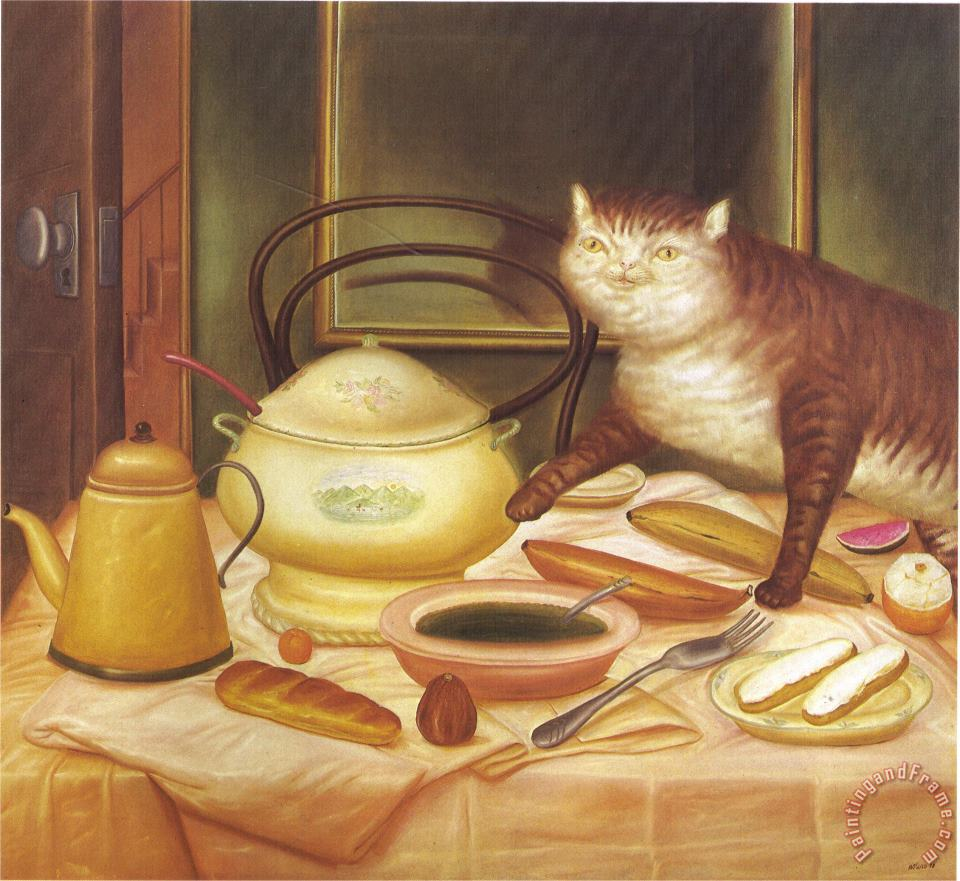 fernando botero Still Life with Green Soup Art Painting