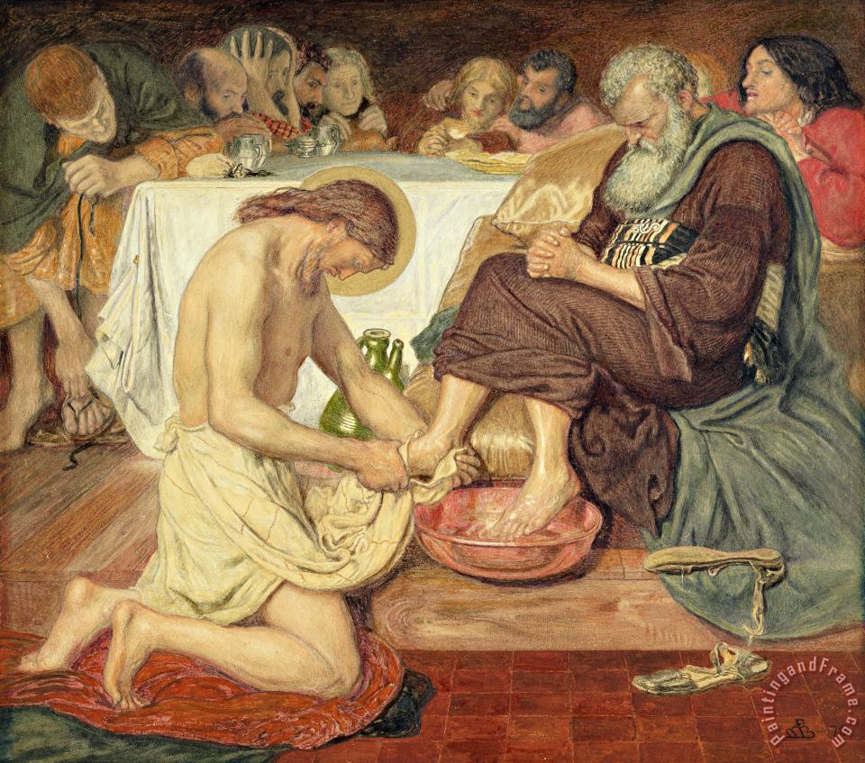 Jesus Washing Peter's Feet painting - Ford Madox Brown Jesus Washing Peter's Feet Art Print