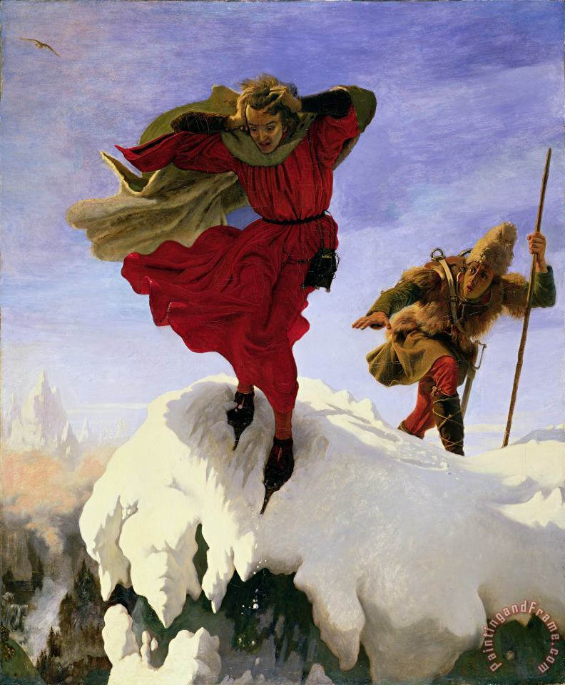 Manfred on the Jungfrau painting - Ford madox Brown Manfred on the Jungfrau Art Print