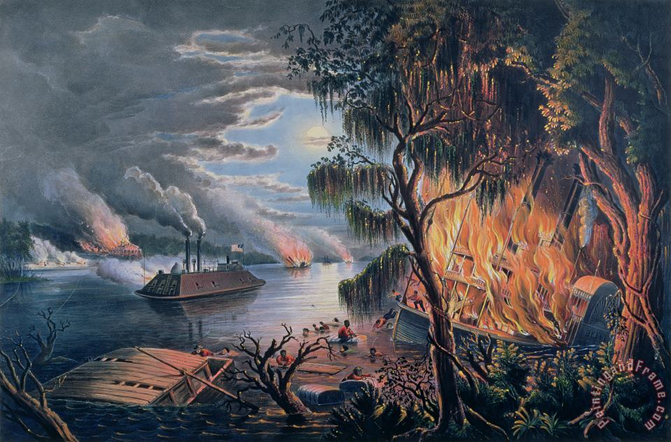 The Mississippi in Time of War painting - Frances Flora Bond Palmer The Mississippi in Time of War Art Print
