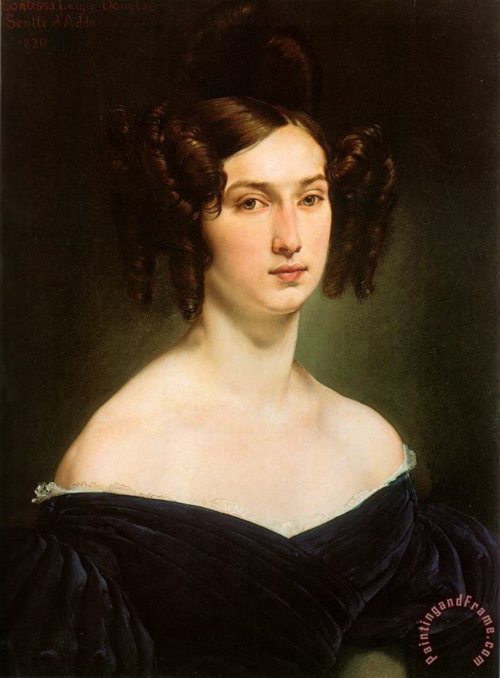 Portrait of Countess Luigia Douglas Scotti D'adda painting - Francesco Hayez Portrait of Countess Luigia Douglas Scotti D'adda Art Print