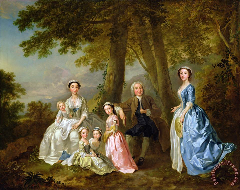 Samuel Richardson seated with his family painting - Francis Hayman Samuel Richardson seated with his family Art Print