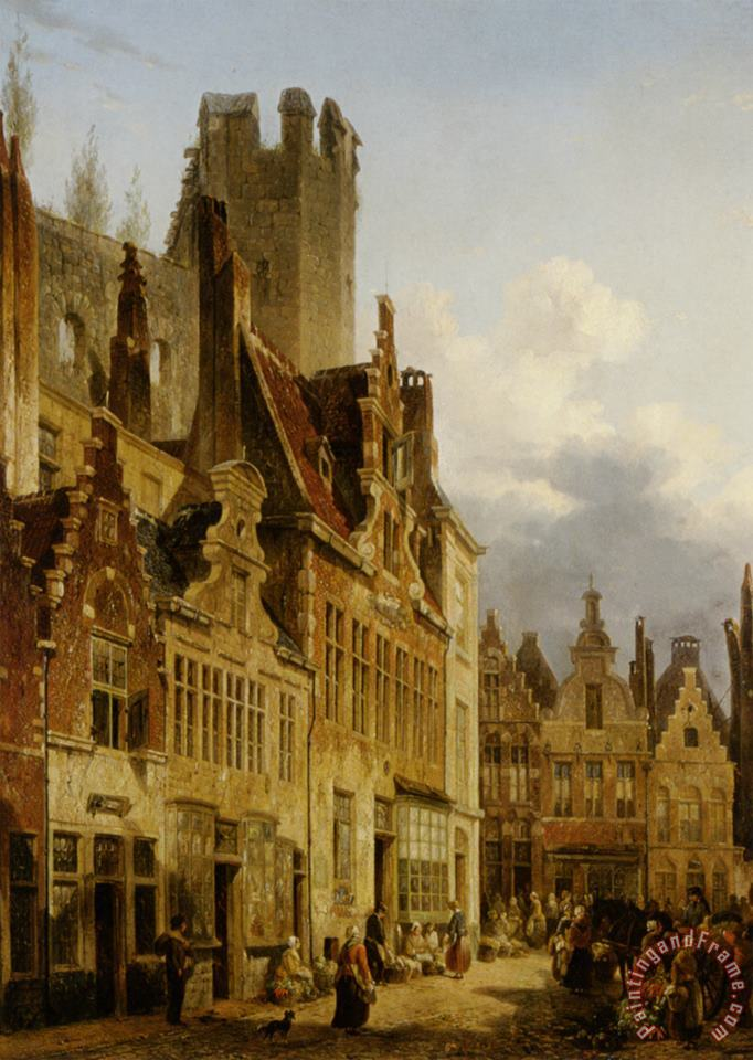 A Busy Market Scene in The Streets of Ghent painting - Francois-jean-louis Boulanger A Busy Market Scene in The Streets of Ghent Art Print