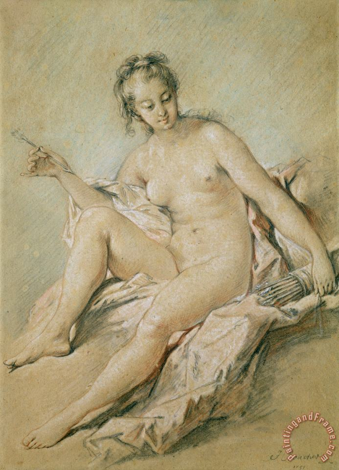 A study of Venus painting - Francois Boucher A study of Venus Art Print