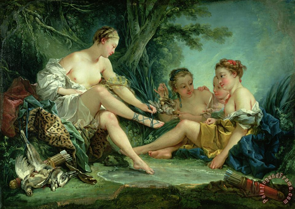 Francois Boucher Diana after the Hunt Art Painting