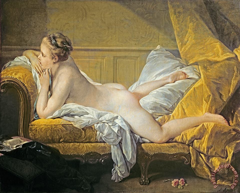 Reclining Nude painting - Francois Boucher Reclining Nude Art Print