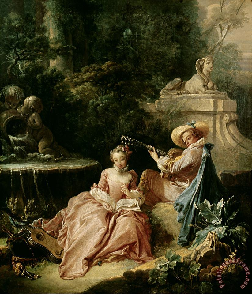 The Music Lesson painting - Francois Boucher The Music Lesson Art Print