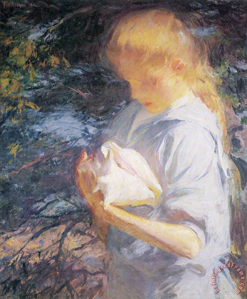 Eleanor Holding a Shell painting - Frank Weston Benson Eleanor Holding a Shell Art Print