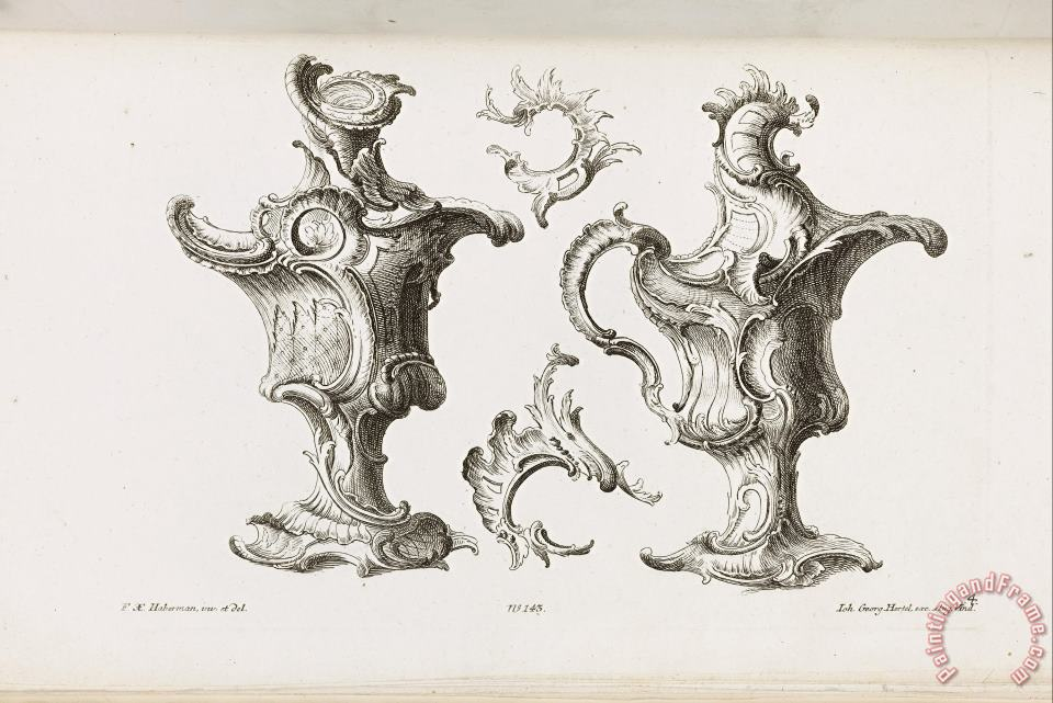 Two Designs for Ewer Shaped Ornaments painting - Franz Xaver Habermann Two Designs for Ewer Shaped Ornaments Art Print