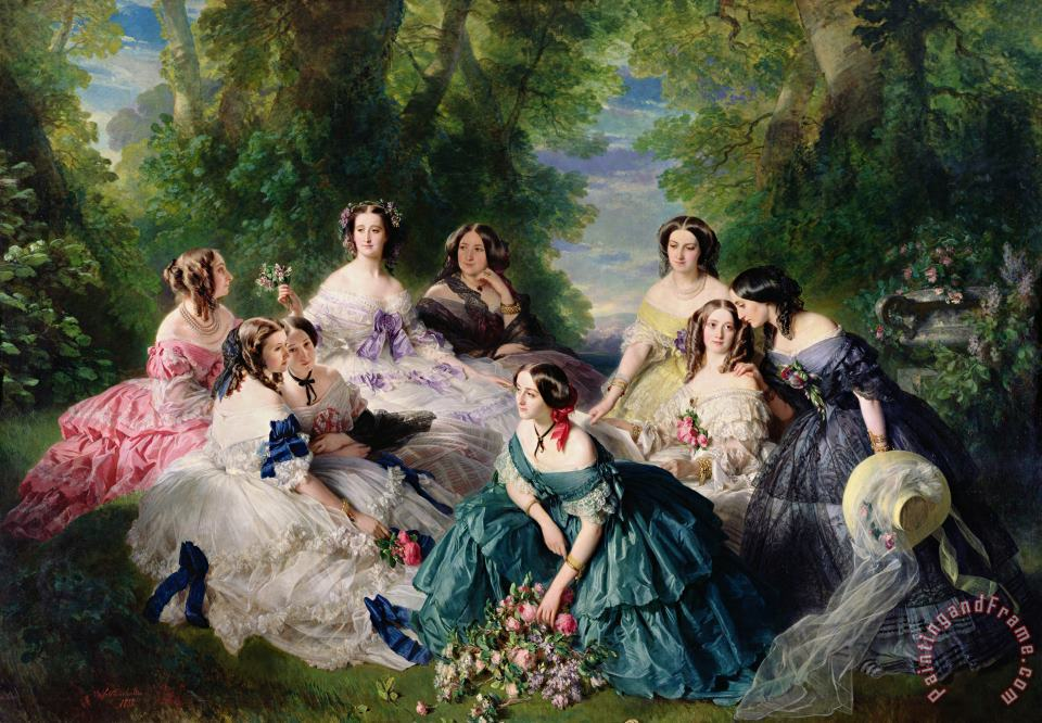 Empress Eugenie Surrounded by her Ladies in Waiting painting - Franz Xaver Winterhalter Empress Eugenie Surrounded by her Ladies in Waiting Art Print