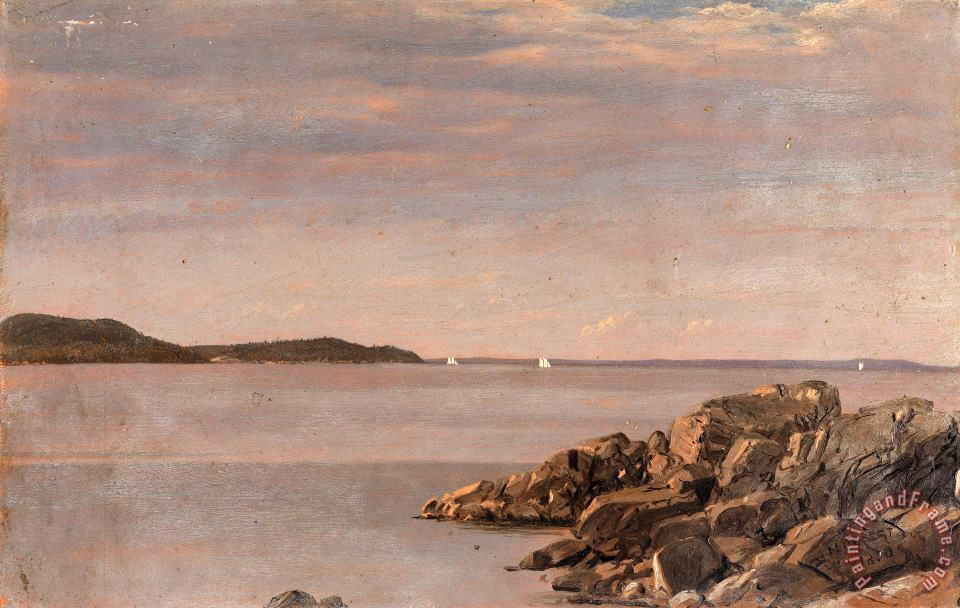 Mt. Desert Island, Maine Coast painting - Frederic Edwin Church Mt. Desert Island, Maine Coast Art Print