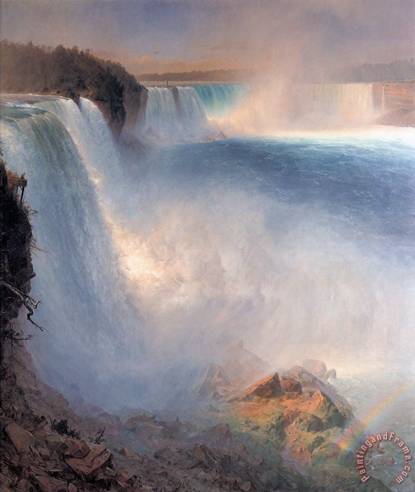 Niagara Falls, From The American Side painting - Frederic Edwin Church Niagara Falls, From The American Side Art Print