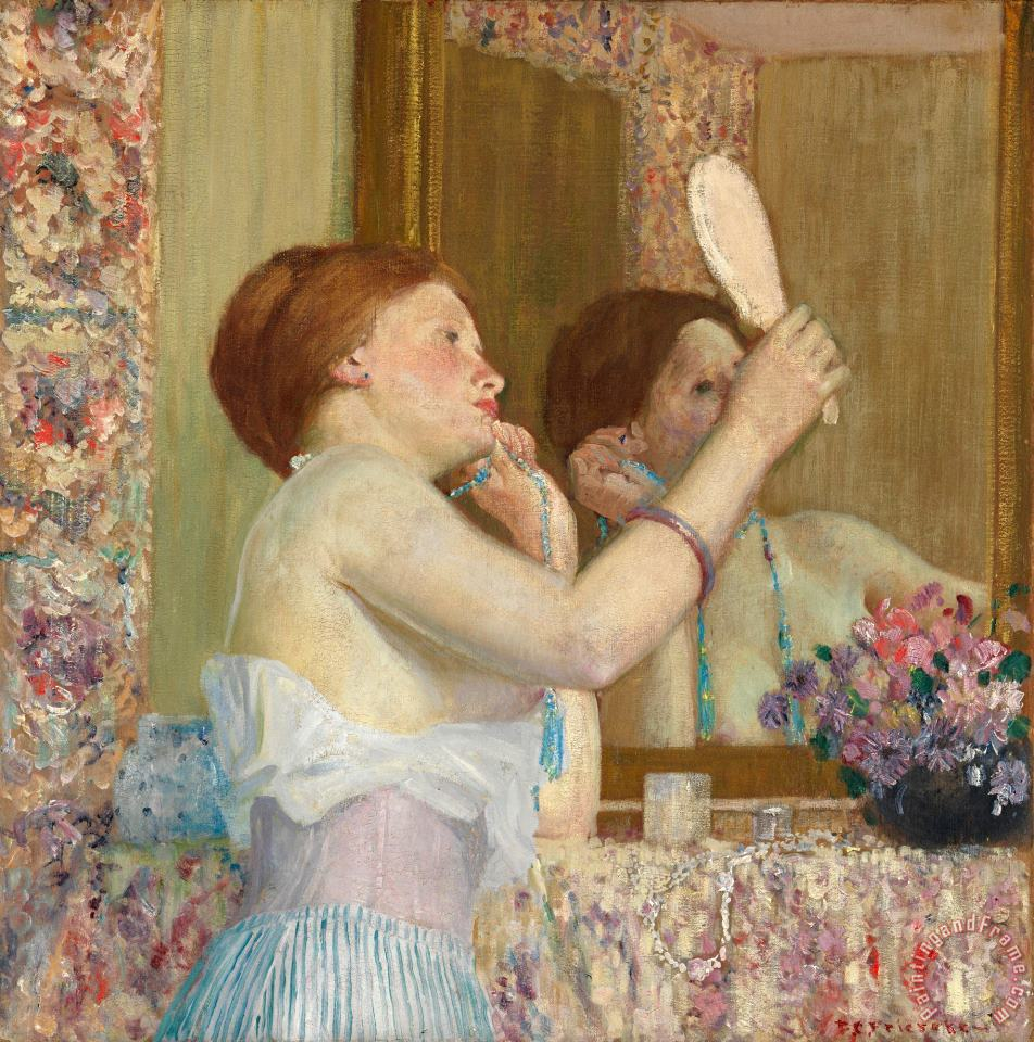 Woman with a Mirror painting - Frederick Carl Frieseke Woman with a Mirror Art Print