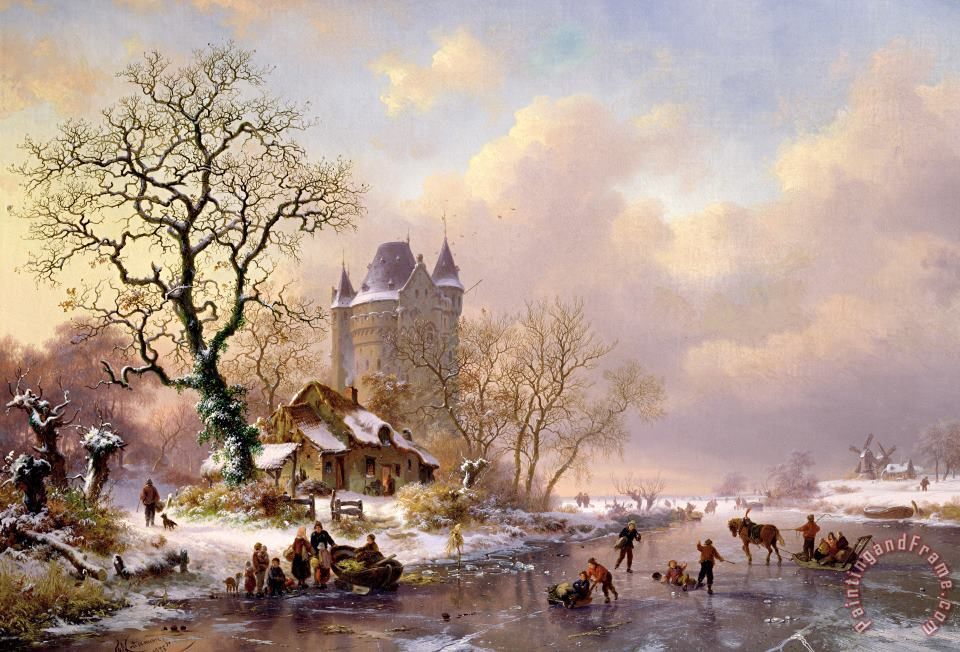 Winter Landscape with Castle painting - Frederick Marianus Kruseman Winter Landscape with Castle Art Print