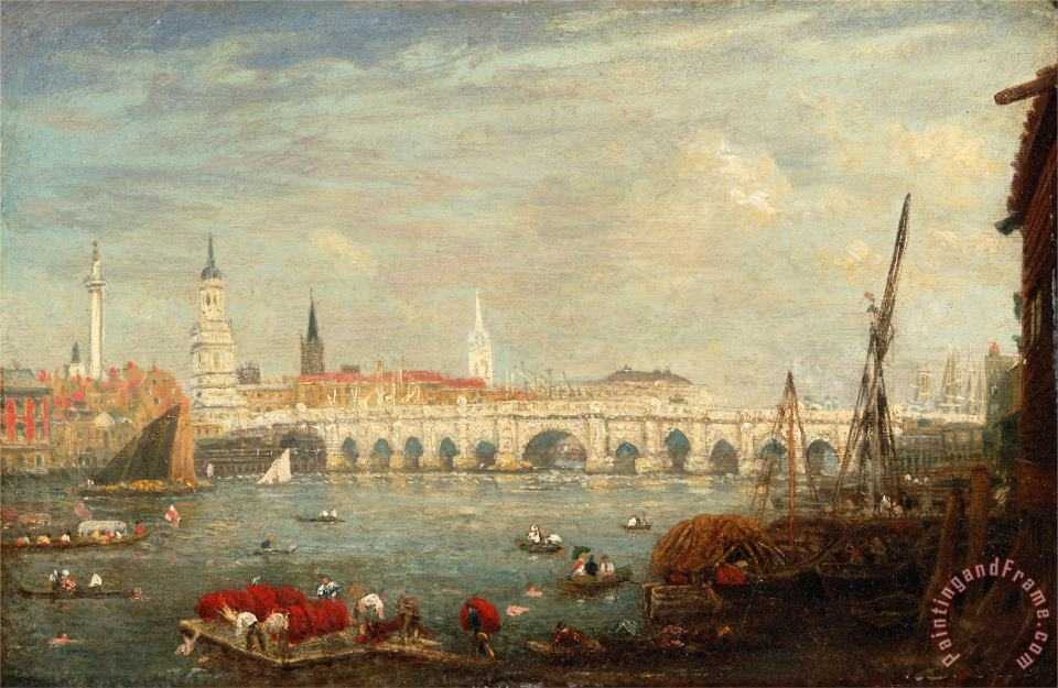 The Monument And London Bridge painting - Frederick Nash The Monument And London Bridge Art Print
