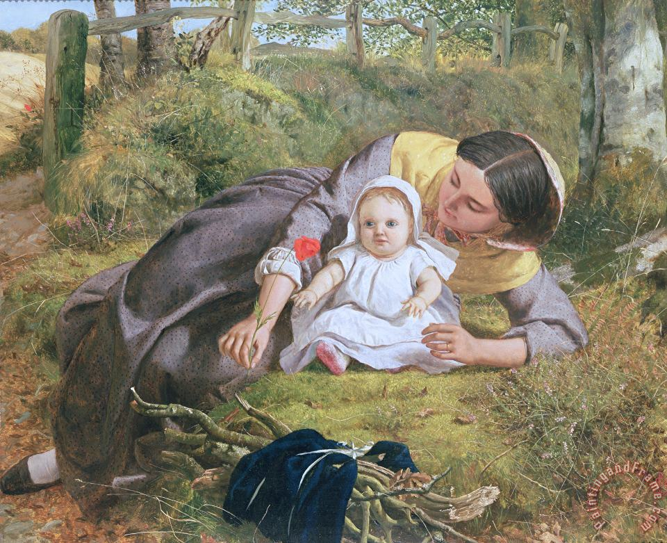 Frederick Richard Pickersgil Mother and Child with a poppy Art Painting