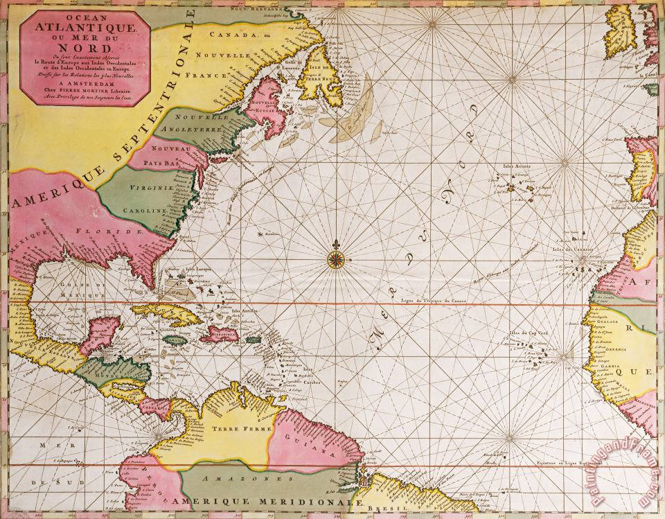 French School Map Of The Atlantic Ocean Showing The East Coast Of North America The Caribbean And Central America Art Print