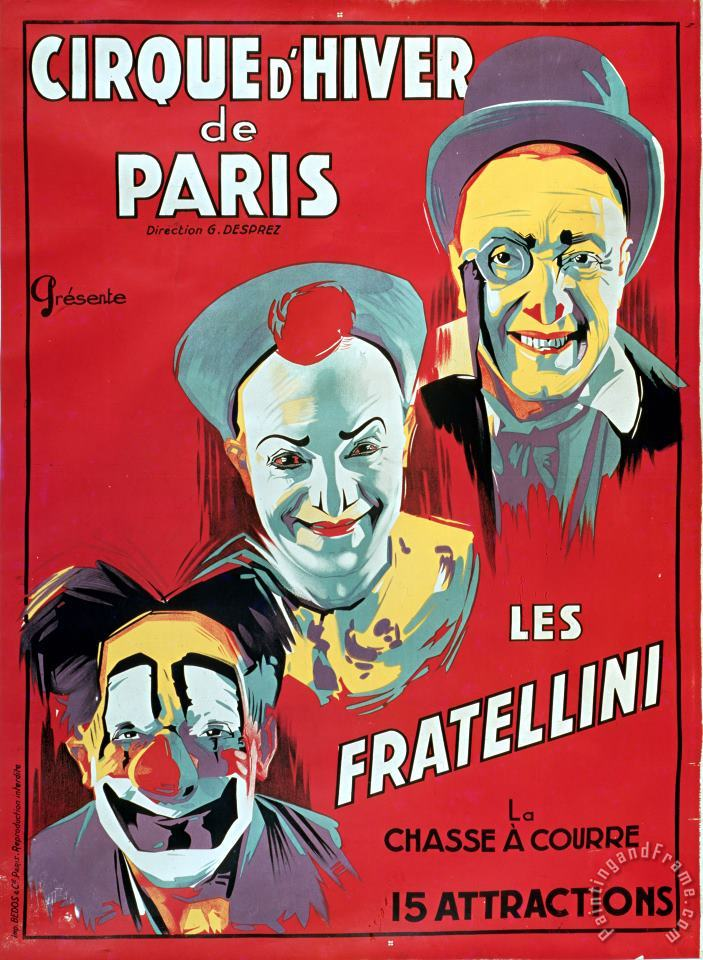 Poster advertising the Fratellini Clowns painting - French School Poster advertising the Fratellini Clowns Art Print