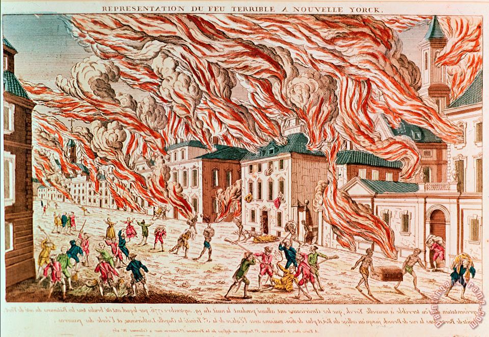Representation of the Terrible Fire of New York painting - French School Representation of the Terrible Fire of New York Art Print