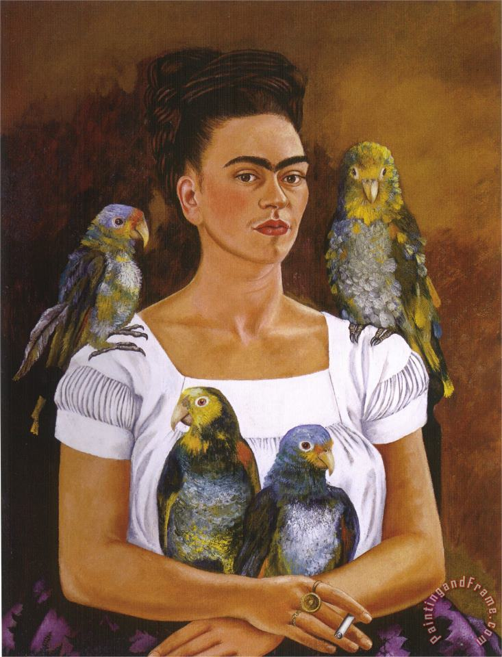 Me And My Parrots 1941 painting - Frida Kahlo Me And My Parrots 1941 Art Print