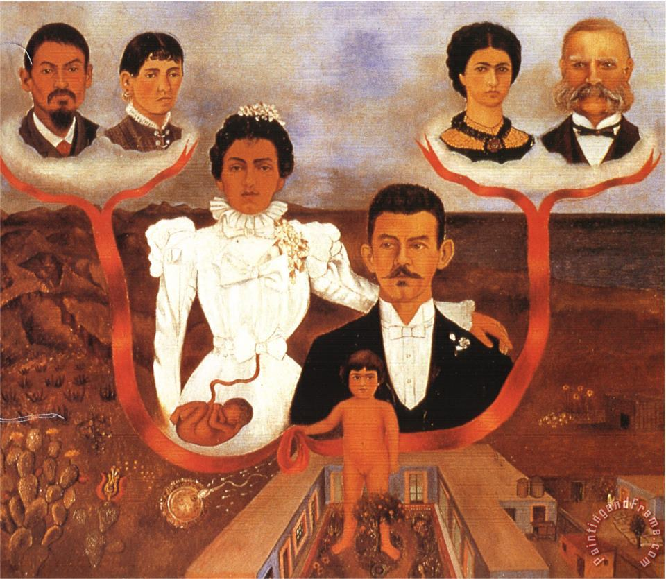 My Grandparents My Parents And Me 1936 painting - Frida Kahlo My Grandparents My Parents And Me 1936 Art Print