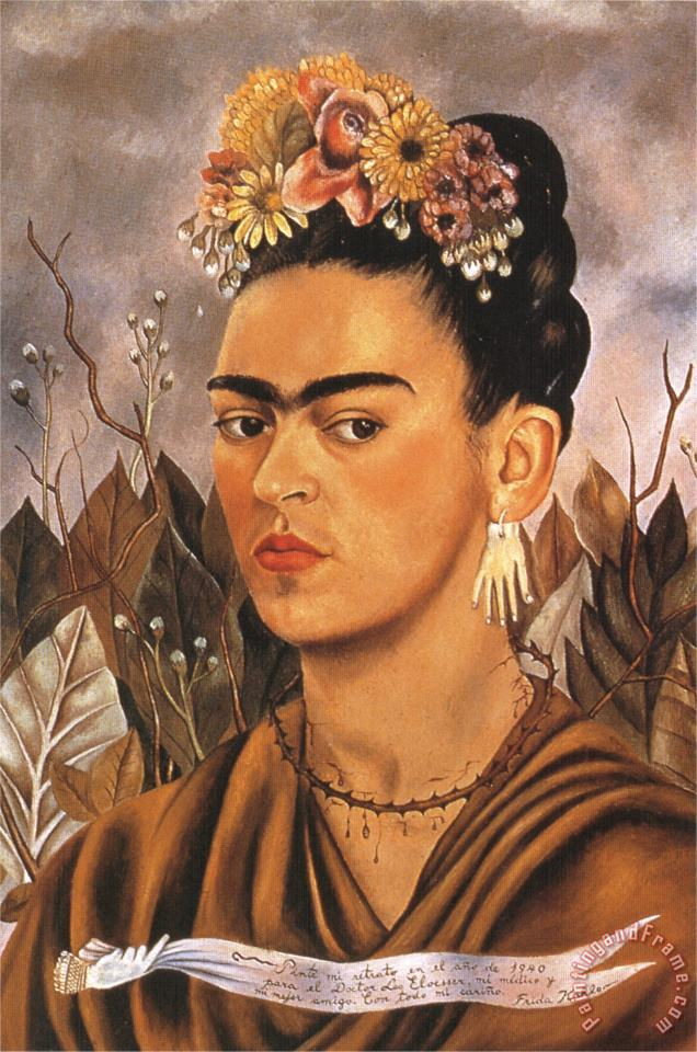 Self Portrait Dedicated to Dr Eloesser 1940 painting - Frida Kahlo Self Portrait Dedicated to Dr Eloesser 1940 Art Print