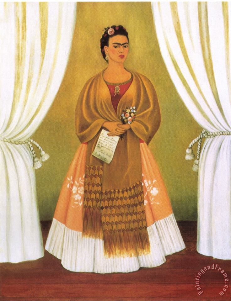 Frida Kahlo Self Portrait Dedicated Tomleon Trotsky Between The Curtains 1937 Art Print