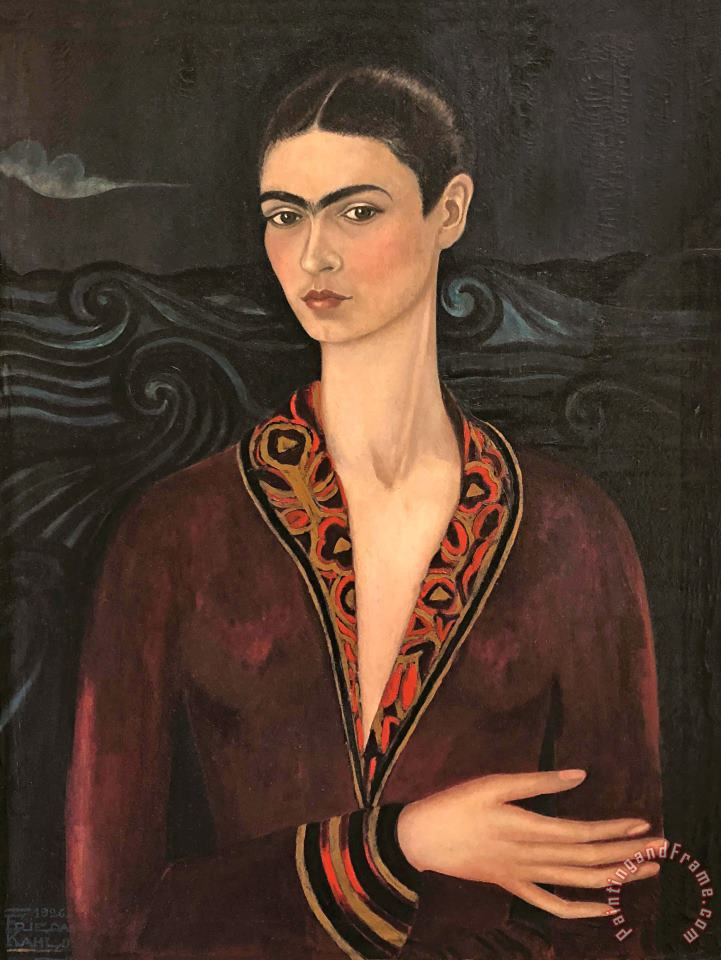 Self Portrait in a Velvet Dress 1926 painting - Frida Kahlo Self Portrait in a Velvet Dress 1926 Art Print
