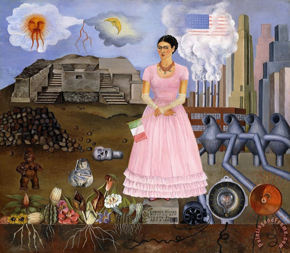 Frida Kahlo Self Portrait on The Borderline Between Mexico And The United States painting - Self Portrait on The Borderline Between Mexico And The United States