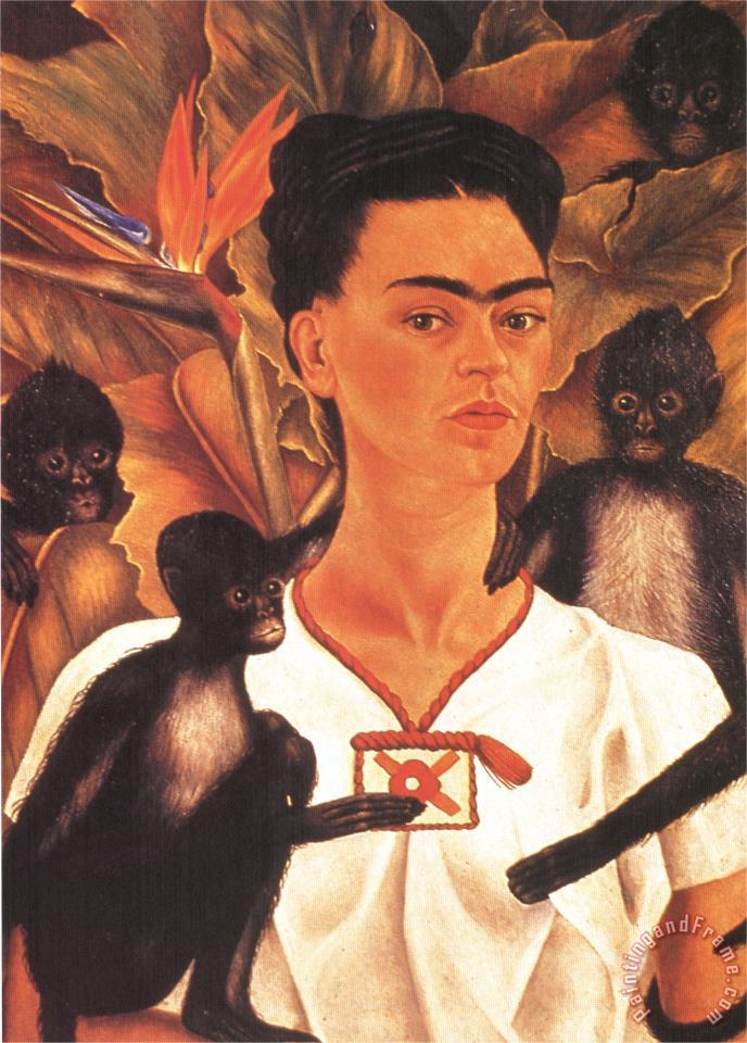 Self Portrait with Monkeys 1943 painting - Frida Kahlo Self Portrait with Monkeys 1943 Art Print
