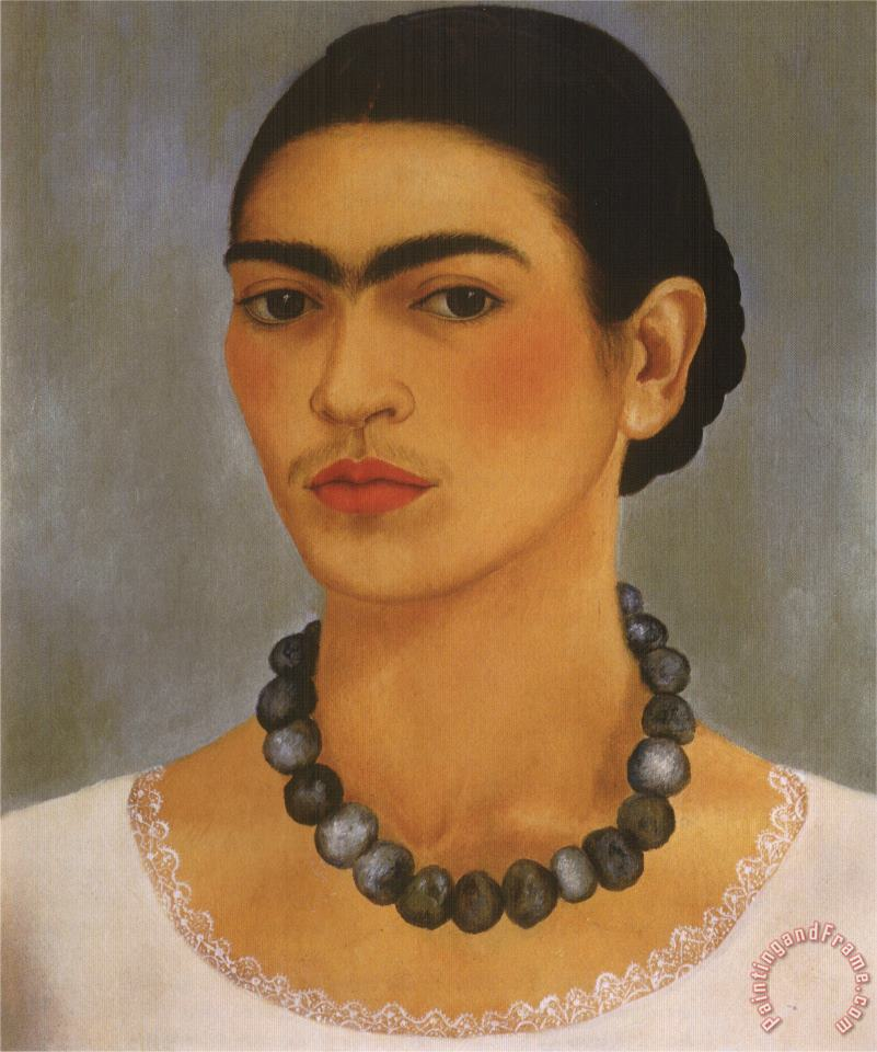 Self Portrait with Necklace 1933 painting - Frida Kahlo Self Portrait with Necklace 1933 Art Print