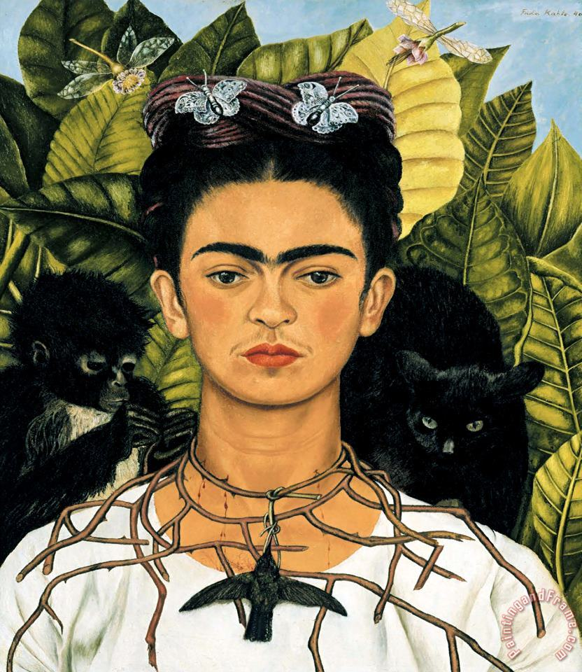 Self Portrait with Necklace of Thorns 1940 painting - Frida Kahlo Self Portrait with Necklace of Thorns 1940 Art Print