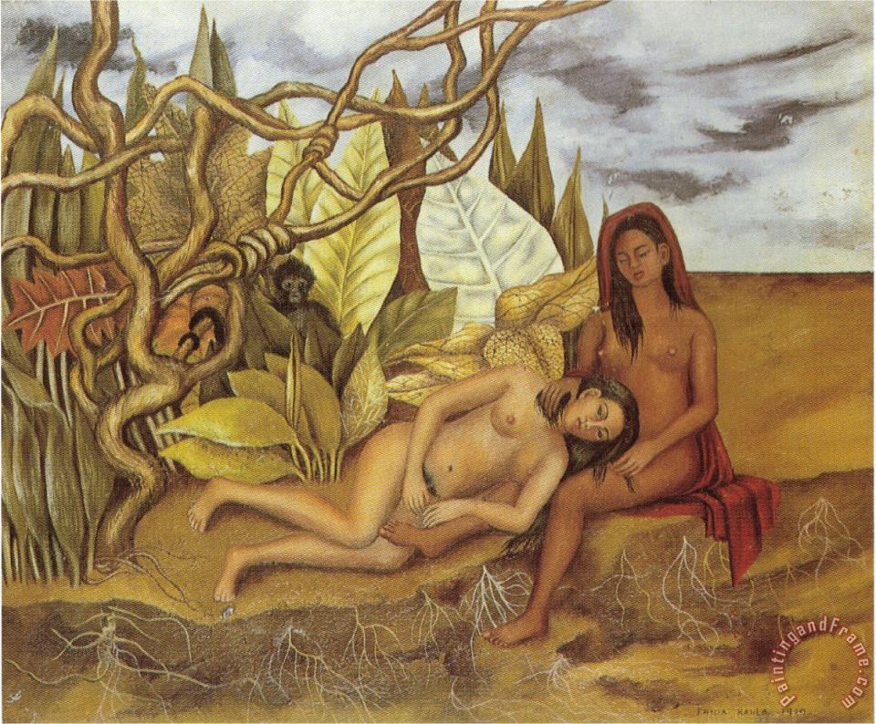 Two Nudes in The Forest The Earth Itself 1939 painting - Frida Kahlo Two Nudes in The Forest The Earth Itself 1939 Art Print
