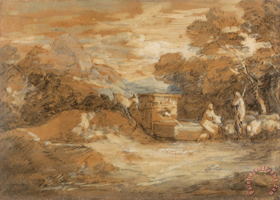Gainsborough, Thomas Mountain Landscape with Figures, Sheep And Fountain Art Print
