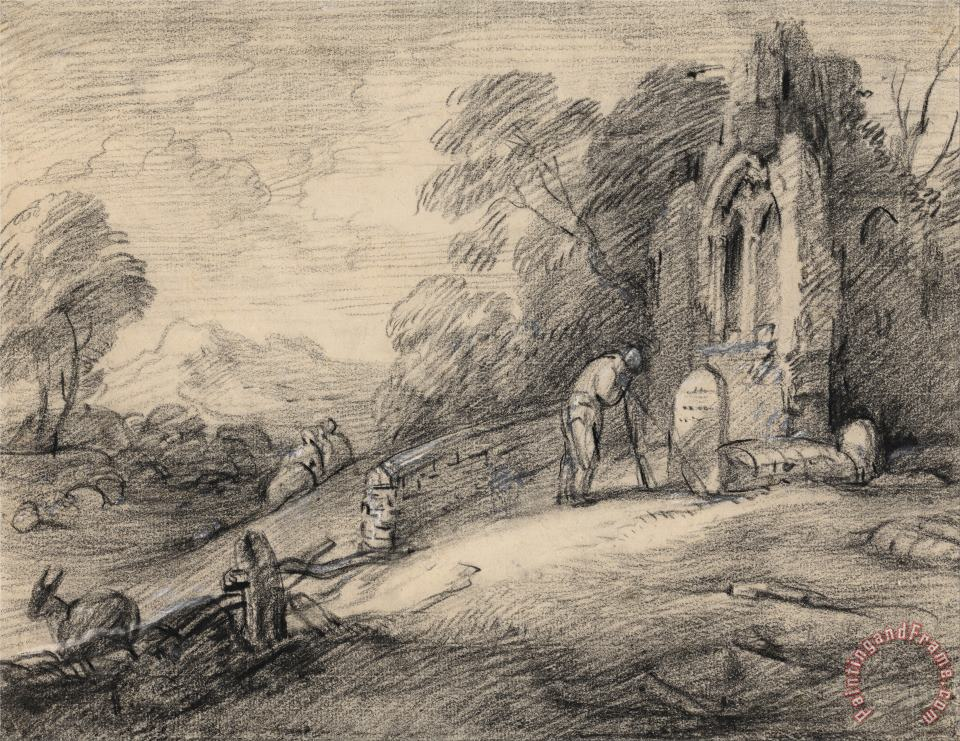 Gainsborough, Thomas Wooded Landscape with Peasant Reading an Inscription on a Tombstone Beside a Ruined Church, Figures,... Art Painting