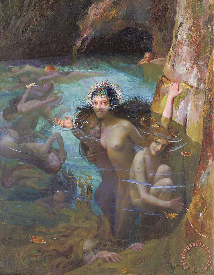 Sea Nymphs at a Grotto painting - Gaston Bussiere Sea Nymphs at a Grotto Art Print