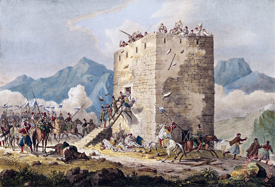 Georg Melchior Kraus The Resistance of Forty Greek Rebels in a Tower in Thebes Art Painting